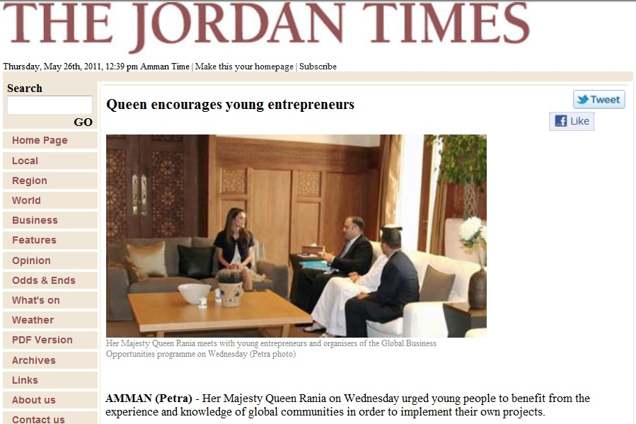 Queen Rania hosting a meeting with Managing Partner, Robert Ayan, a founder and Senior Advisor of the Queen Rania Centre for Entrepreneurship