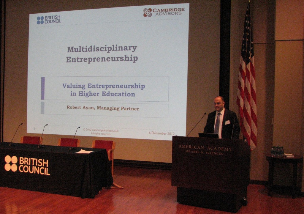 Robert Ayan. Managing Partner of Cambridge Advisors, spoke about multidisciplinary entrepreneurship in higher education.
